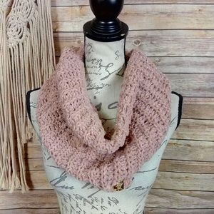 Betsey Johnson | Blush Pink Cable Knit Snood Scarf